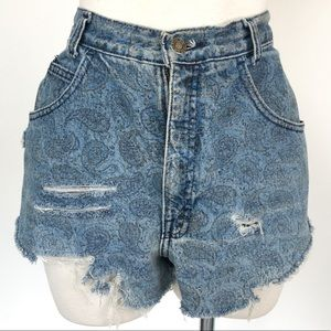 Calvin Klein size M blue distressed cut off shorts